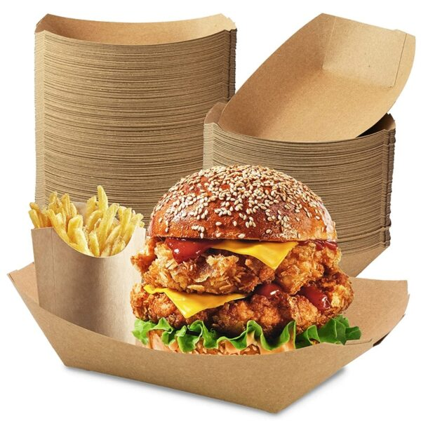 50PCS Heavy Duty Disposable Kraft Brown Paper Food Trays