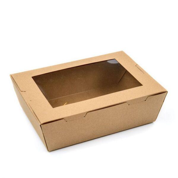 Kraft-Paper-Lunch-Box-Open-Single-Window-Fruit-Salad-Box-Takeaway-Packing-Box-Sushi-Lunch-Box-fondokia